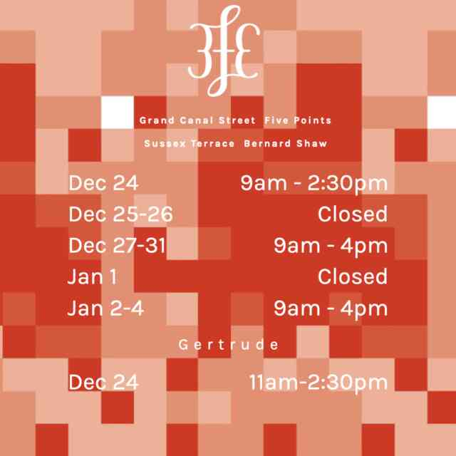 3fe Christmas Opening Hours
